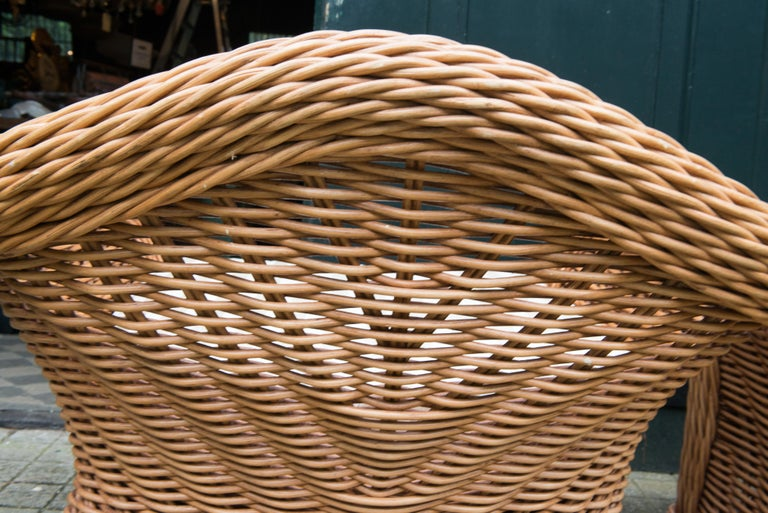 Large Pair of Vintage Ficks Reed Rattan Arm Chairs For Sale 4