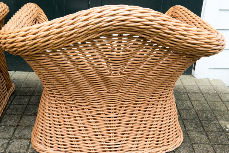 Large Pair of Vintage Ficks Reed Rattan Arm Chairs For Sale 5
