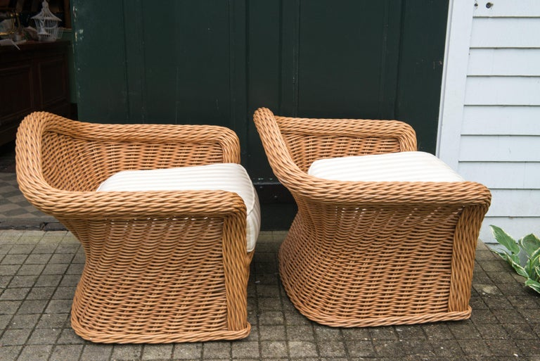 Large Pair of Vintage Ficks Reed Rattan Arm Chairs For Sale 6