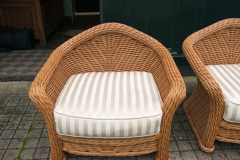 American Large Pair of Vintage Ficks Reed Rattan Arm Chairs For Sale