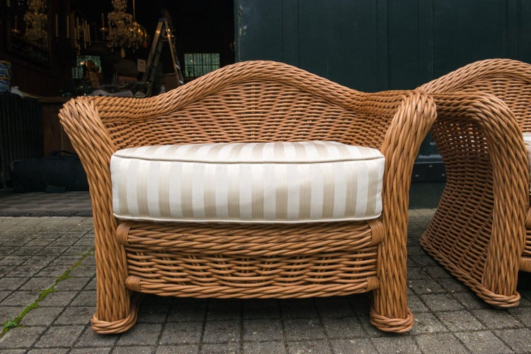 Woven Large Pair of Vintage Ficks Reed Rattan Arm Chairs For Sale