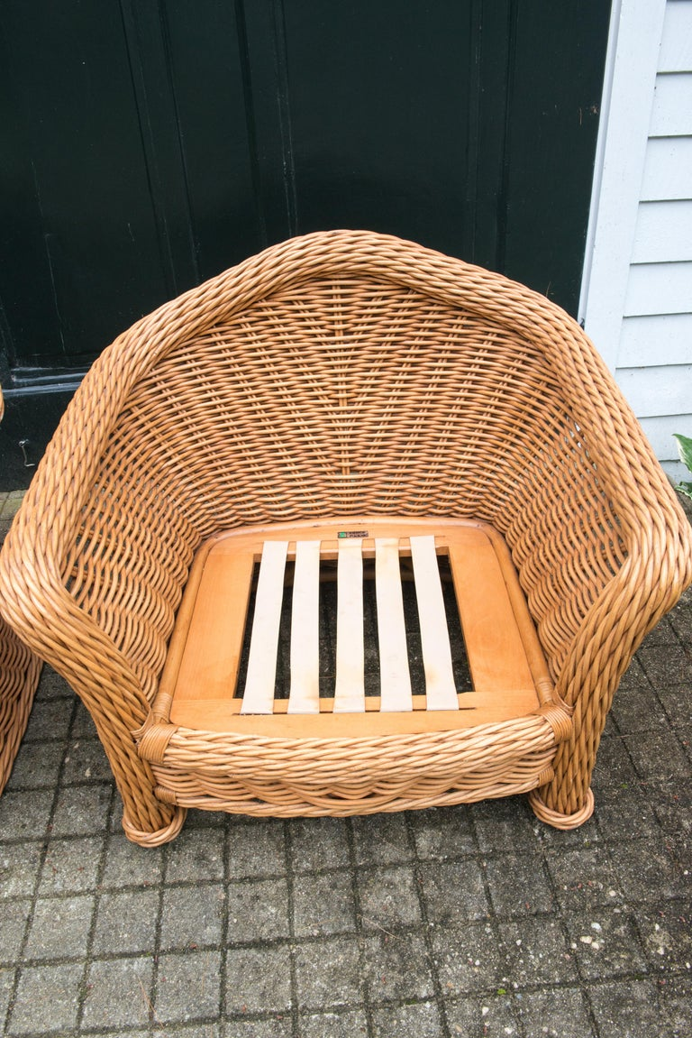 Large Pair of Vintage Ficks Reed Rattan Arm Chairs In Good Condition For Sale In Stamford, CT