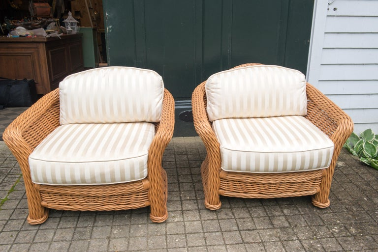 Large Pair of Vintage Ficks Reed Rattan Arm Chairs For Sale 1
