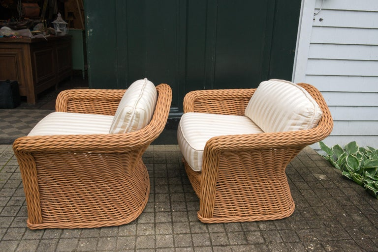 Large Pair of Vintage Ficks Reed Rattan Arm Chairs For Sale 2