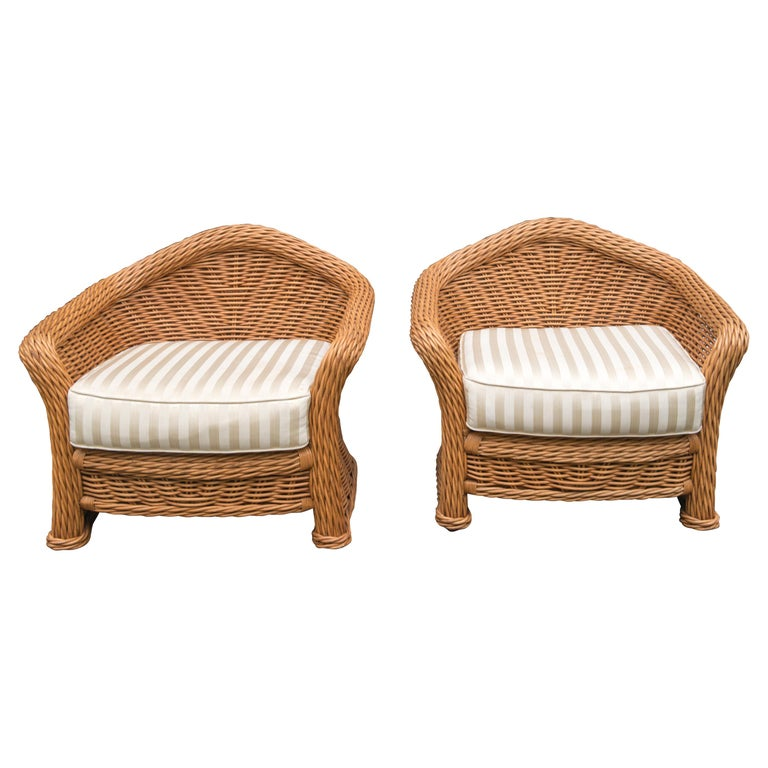 Large Pair of Vintage Ficks Reed Rattan Arm Chairs For Sale