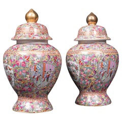 Large Pair of Vintage Ginger Jars, Chinese, Ceramic, Baluster, Art Deco, C.1940