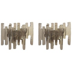 "Large Pair of Vintage Kalmar ""Ice Block"" Glass Sconces"