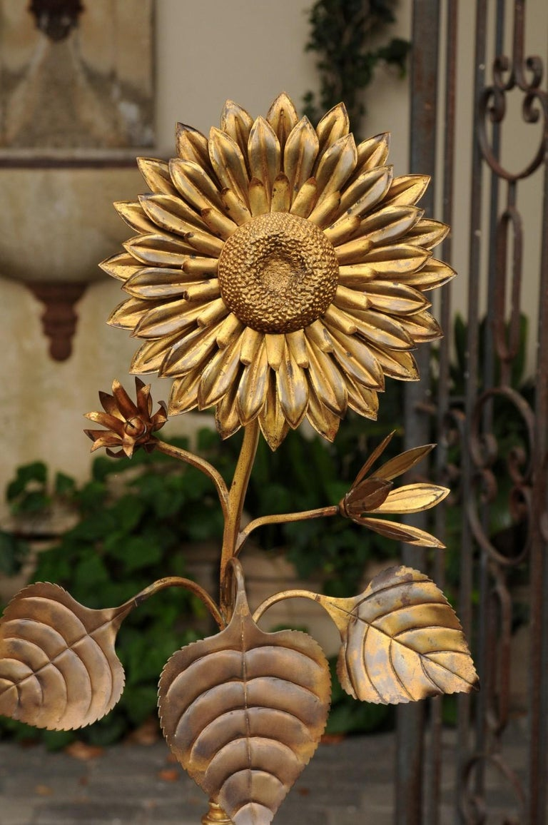Large Pair of Vintage Midcentury Brass Sunflower Decorative Object on Bases For Sale 2