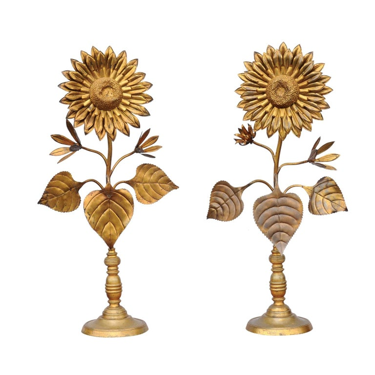 Large Pair of Vintage Midcentury Brass Sunflower Decorative Object on Bases For Sale