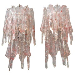 Large Pair of Vintage Murano Brutalist Wall Sconces