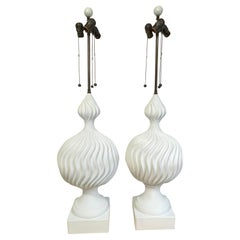 Large Pair of White Lacquered Plaster Sculptural Orb Lamps, by Lang Levin