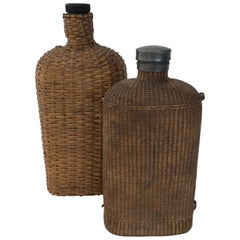 Large Pair of Wicker Flasks