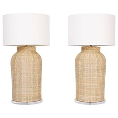Large Pair of Wicker Table Lamps