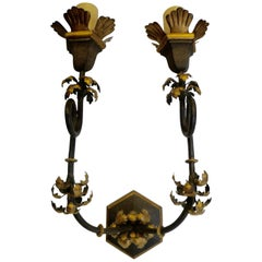 Large Pair of Wrought Iron Sconces with Gilt Highlights by Gregorius Pineo