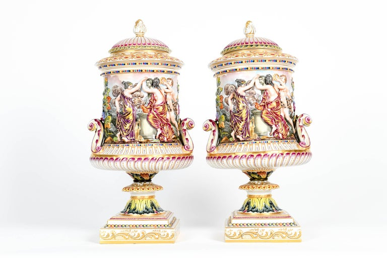 Large Pair of Porcelain Covered Urns / Decorative Pieces For Sale 9