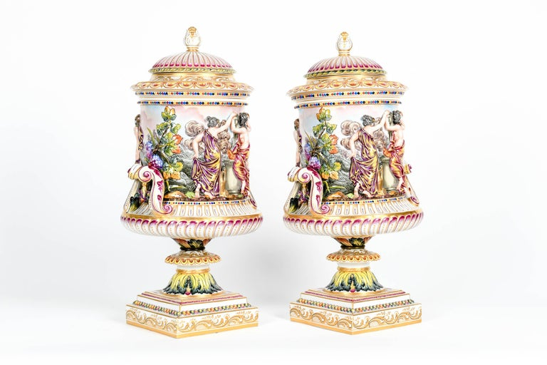 Italian Large Pair of Porcelain Covered Urns / Decorative Pieces For Sale