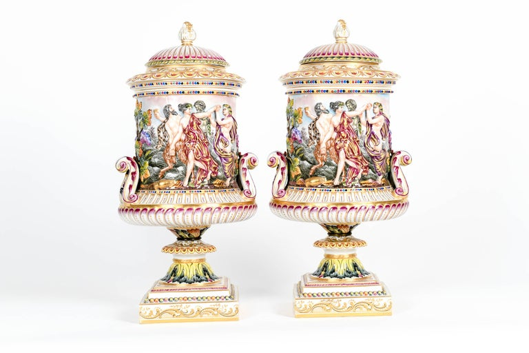 Late 19th Century Large Pair of Porcelain Covered Urns / Decorative Pieces For Sale