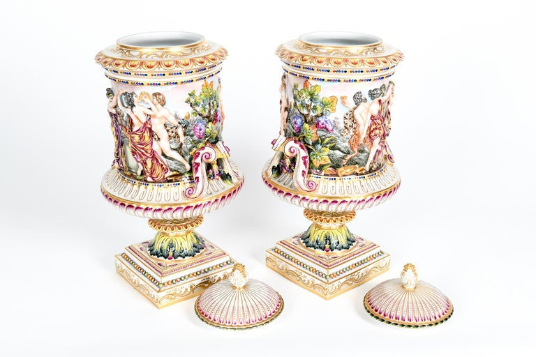 Large Pair of Porcelain Covered Urns / Decorative Pieces For Sale 4