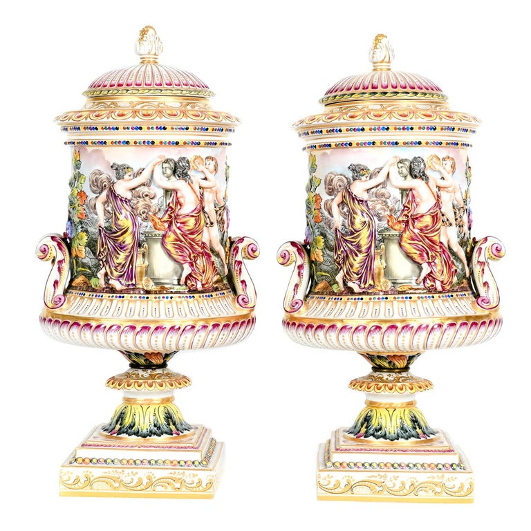 Large Pair of Porcelain Covered Urns / Decorative Pieces For Sale