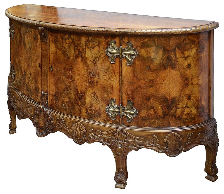 English Large Pair Queen Anne Style Walnut Side Cabinets For Sale