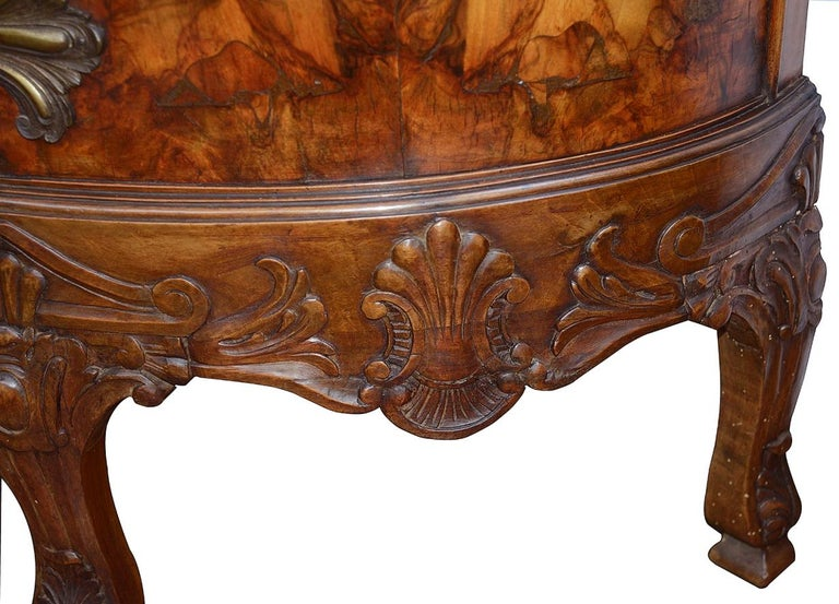Veneer Large Pair Queen Anne Style Walnut Side Cabinets For Sale