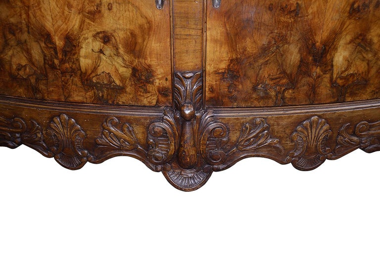 20th Century Large Pair Queen Anne Style Walnut Side Cabinets For Sale