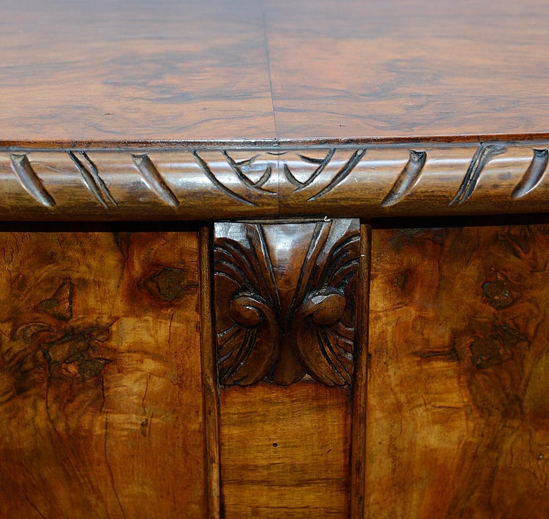 Large Pair Queen Anne Style Walnut Side Cabinets For Sale 3