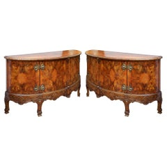Large Pair Queen Anne Style Walnut Side Cabinets