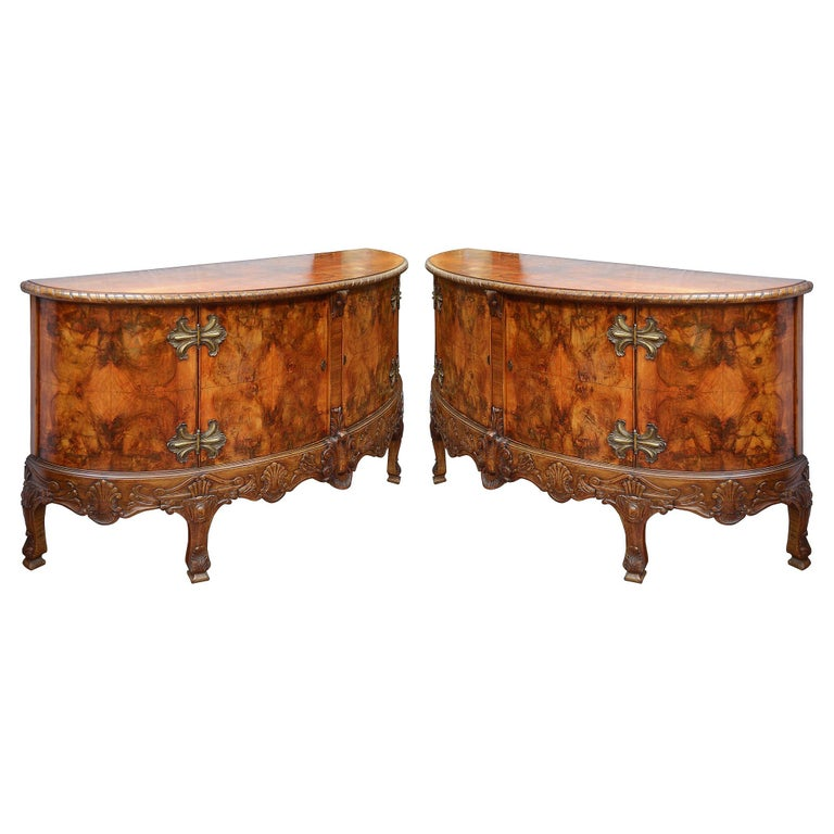 Large Pair Queen Anne Style Walnut Side Cabinets For Sale
