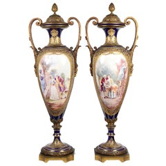 Large Pair Sevres Style Vases, 19th Century