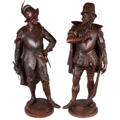 Large Pair of Spelter French Soldiers