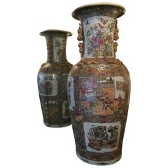 Large Palace Size Rose Medallion Vases, 20th Century