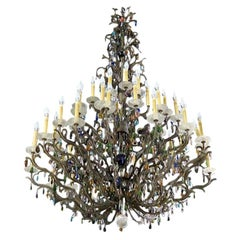 Large Multi-colored Crystal Pendant and Rock Crystal Bobeche French Chandelier