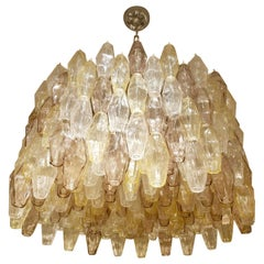 Large Pale Gold, Lavender and Clear Polyhedral Murano Chandelier