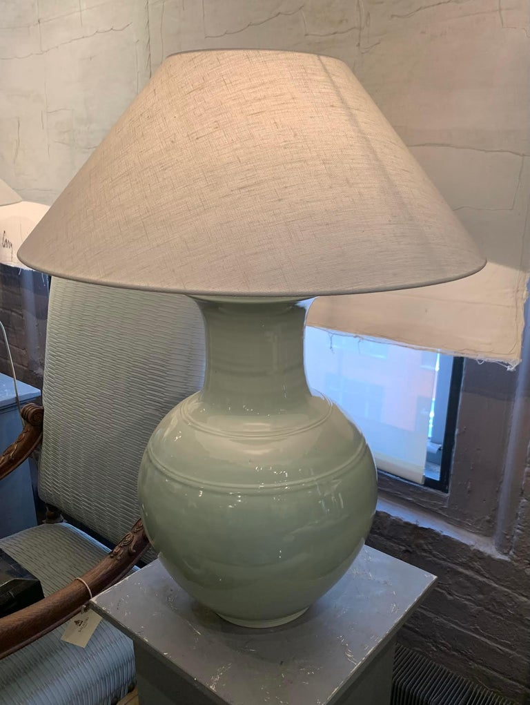 Chinese Large Pale Turquoise Pair Lamps, China, Contemporary For Sale