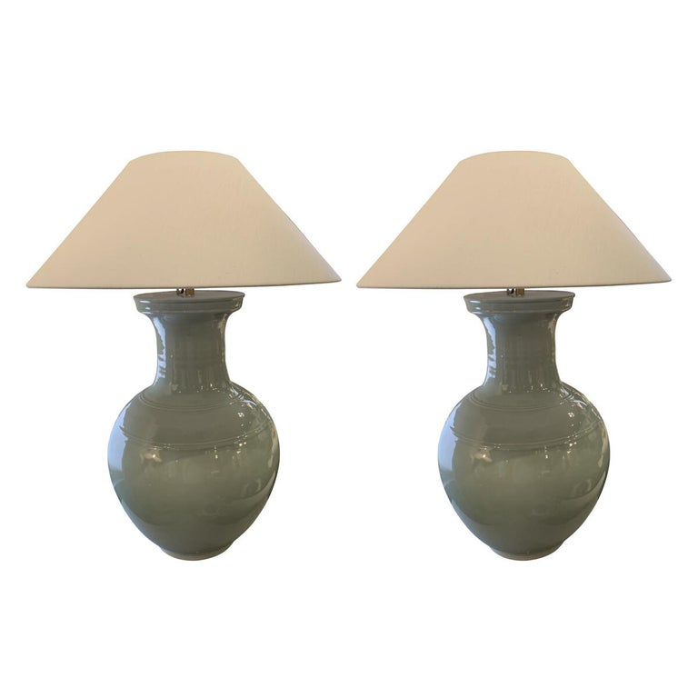 Large Pale Turquoise Pair Lamps, China, Contemporary For Sale