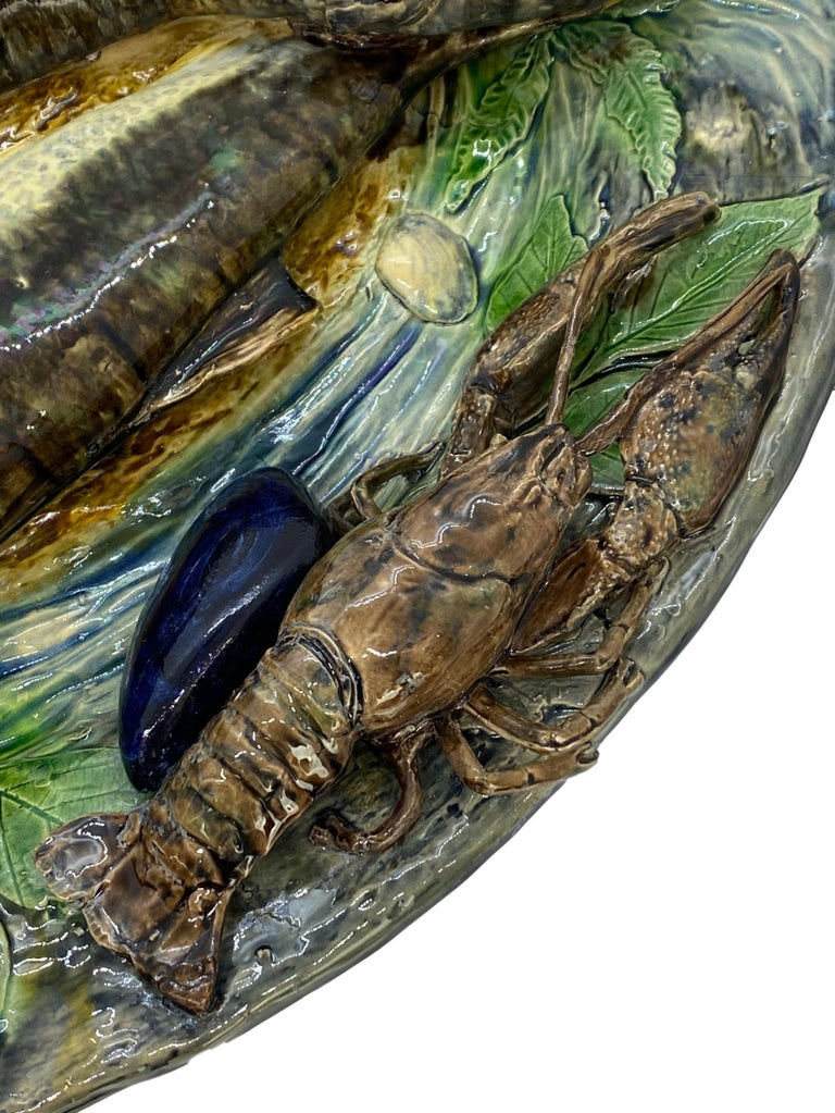 Large Palissy Ware Majolica Platter by Alfred Renoleau, French, circa 1885 For Sale 3
