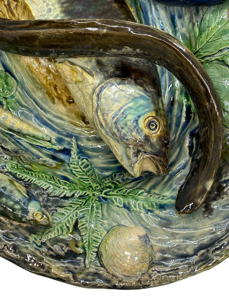 Large Palissy Ware Majolica Platter by Alfred Renoleau, French, circa 1885 For Sale 4