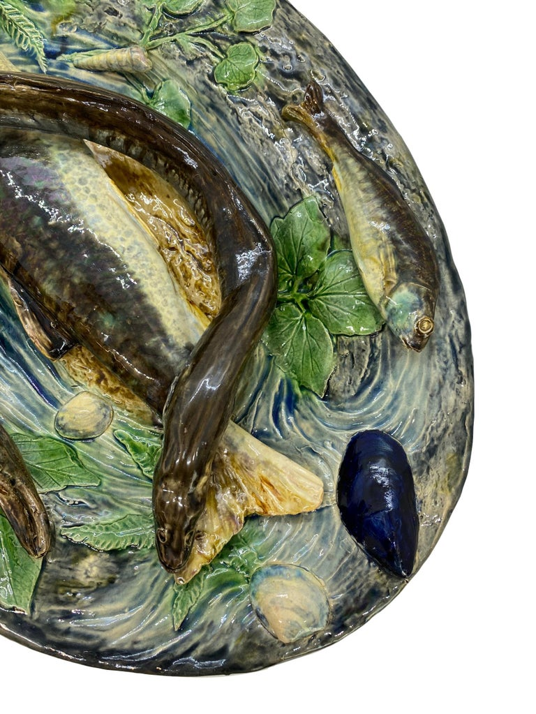 Large Palissy Ware Majolica Platter by Alfred Renoleau, French, circa 1885 For Sale 8