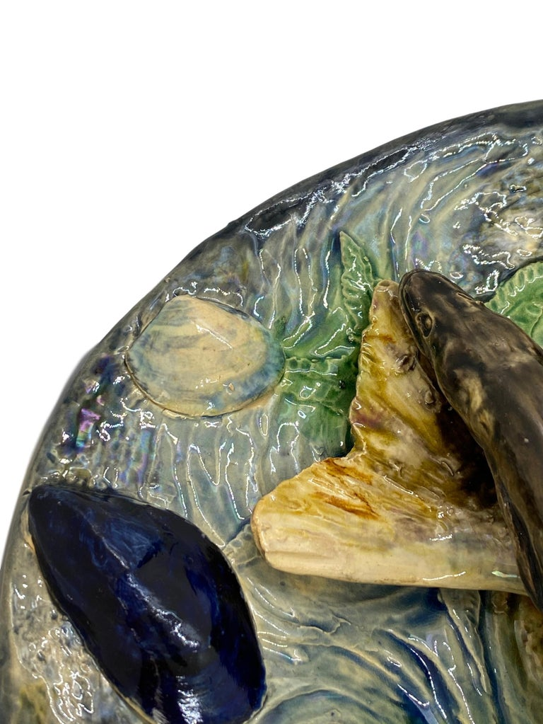 Large Palissy Ware Majolica Platter by Alfred Renoleau, French, circa 1885 For Sale 9