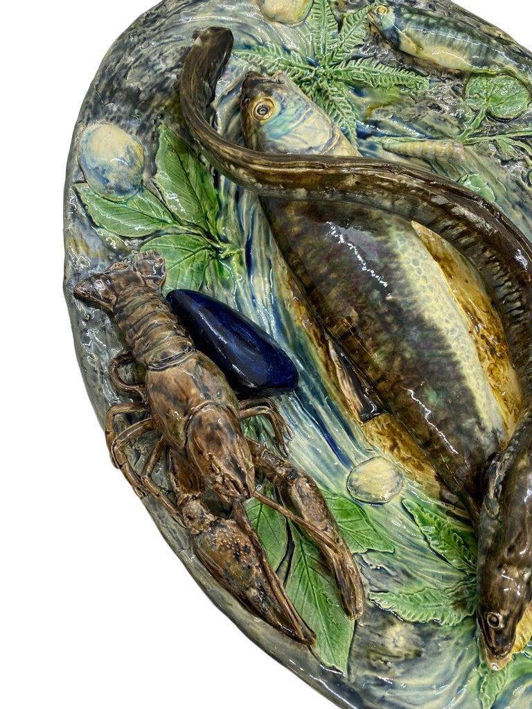 Large Palissy Ware Majolica Platter by Alfred Renoleau, French, circa 1885 For Sale 10