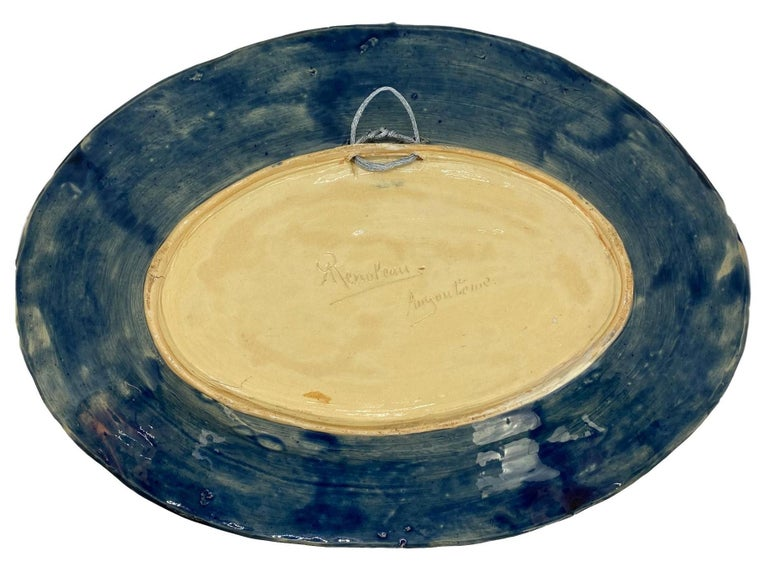 Large Palissy Ware Majolica Platter by Alfred Renoleau, French, circa 1885 For Sale 11