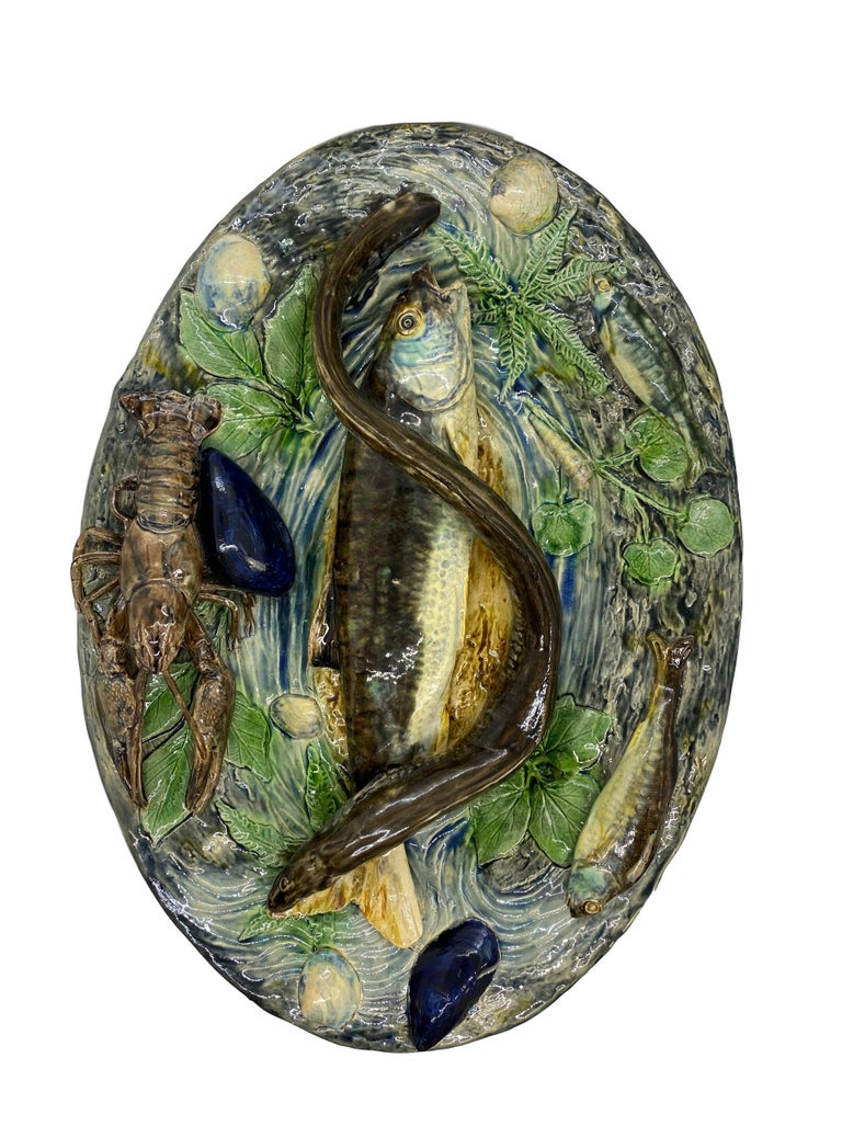 Victorian Large Palissy Ware Majolica Platter by Alfred Renoleau, French, circa 1885 For Sale