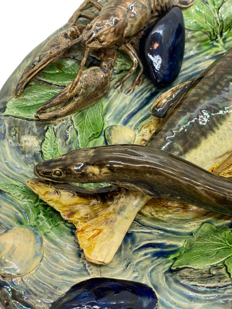 English Large Palissy Ware Majolica Platter by Alfred Renoleau, French, circa 1885 For Sale