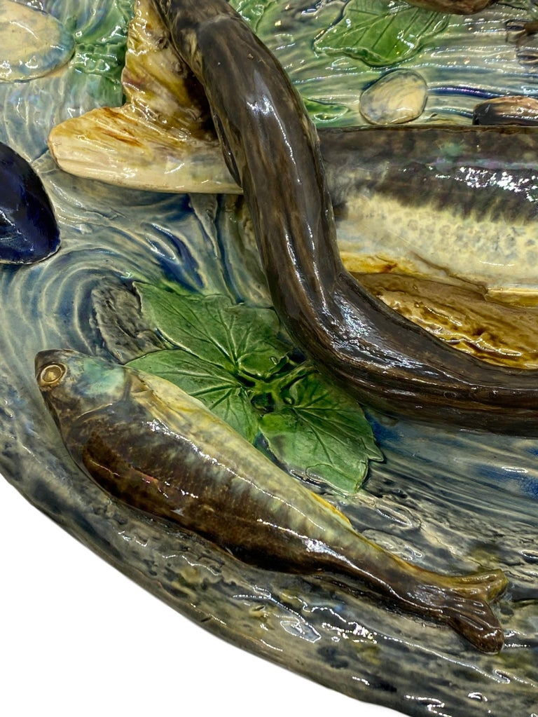 Molded Large Palissy Ware Majolica Platter by Alfred Renoleau, French, circa 1885 For Sale