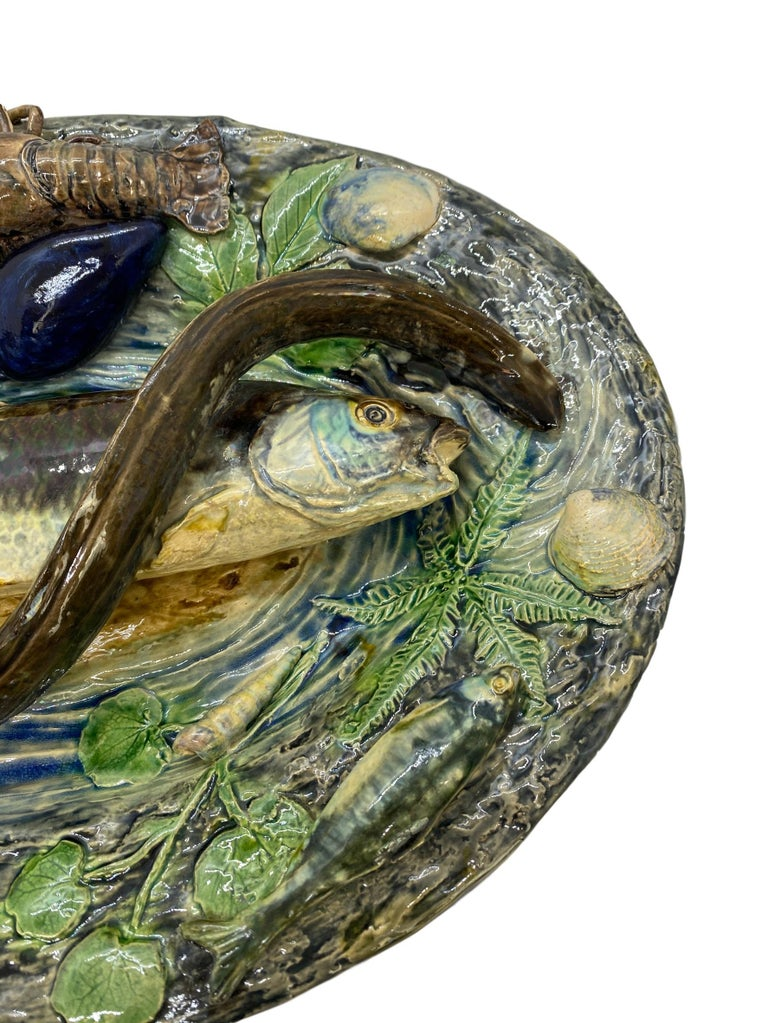 Large Palissy Ware Majolica Platter by Alfred Renoleau, French, circa 1885 In Good Condition For Sale In Banner Elk, NC