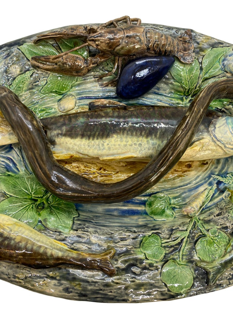 19th Century Large Palissy Ware Majolica Platter by Alfred Renoleau, French, circa 1885 For Sale