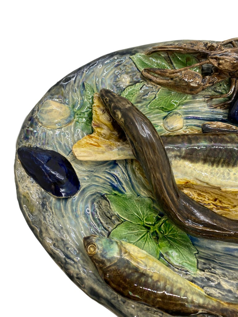 Large Palissy Ware Majolica Platter by Alfred Renoleau, French, circa 1885 For Sale 1