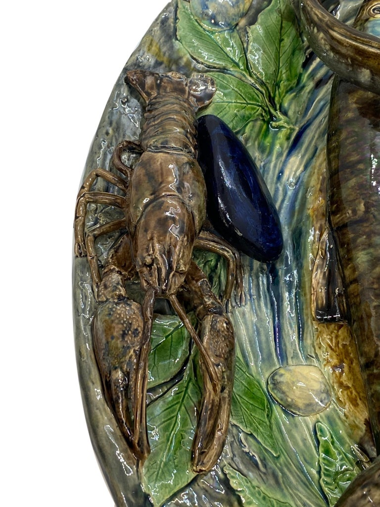 Large Palissy Ware Majolica Platter by Alfred Renoleau, French, circa 1885 For Sale 2