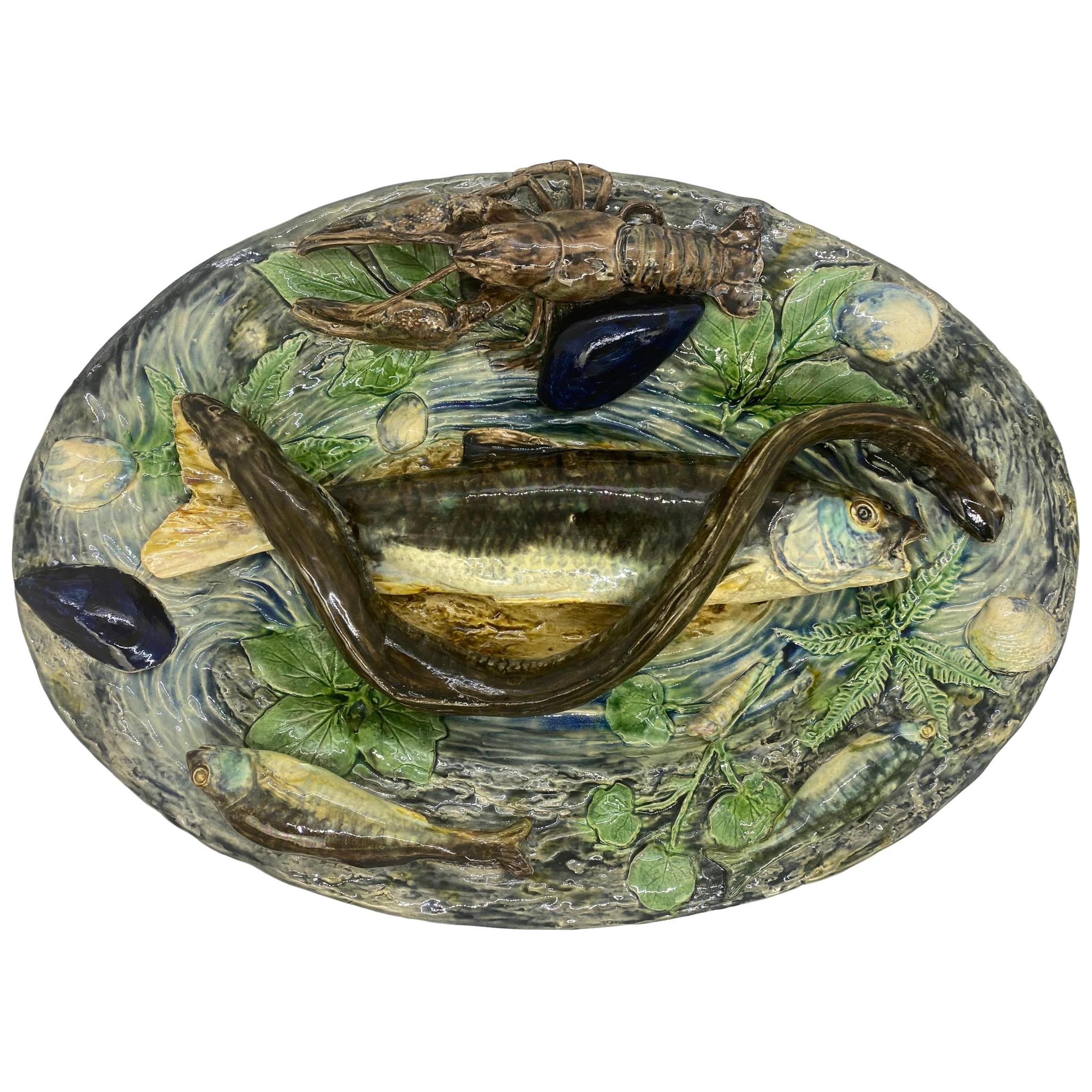 Large Palissy Ware Majolica Platter by Alfred Renoleau, French, circa 1885